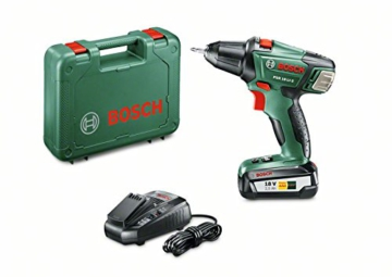 Bosch DIY Akku-Bohrschrauber PSR 18 LI-2, Akku, Ladegerät, Doppelschrauberbit, Koffer (18 V, 2,5 Ah, 35 mm Bohr-Ø in Holz) -