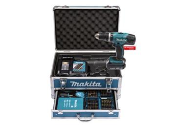 Makita Akku-Schlagbohrschrauber 18 V / 1,5 Ah im Alukoffer inklusive 96-teilig Zubehörset, DHP453RYX2 -